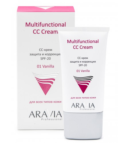 """ARAVIA Professional"" СС-крем защитный SPF-20 Multifunctional CC Cream, Vanilla 01,  туба 50 мл"